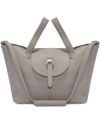 meli melo Thela Medium Taupe Grey Leather With Zip Closure Tote Bag For Women