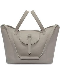 meli melo Thela Taupe Grey Leather Tote Bag For Women