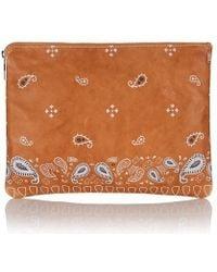meli melo - Oversized Clutch Bag Light Tan Bandana Print - Lyst