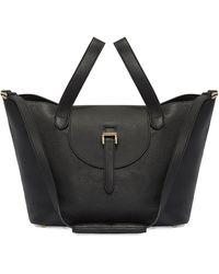 meli melo Thela Medium Black Tote Bag With Zipper Closure