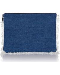 meli melo - Oversized Clutch Bag Blue Denim - Lyst