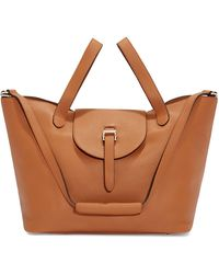 meli melo Thela Tan Brown Leather Tote Bag For Women