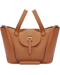 meli melo Thela Medium Tan Brown Leather Tote Bag For Women