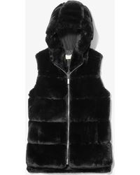 Michael Kors Faux Fur Hooded Vest - Black