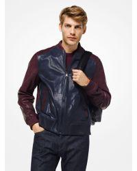 Michael Kors - Color-block Nappa Leather Bomber Jacket - Lyst