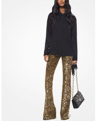 Michael Kors Sequined Stretch-tulle Flared Trousers - Black
