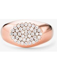Michael Kors Sterling Silver Pave Signet Ring - Metallic