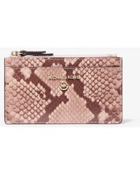 Michael Kors - Small Snake Embossed Leather Card Case - Lyst
