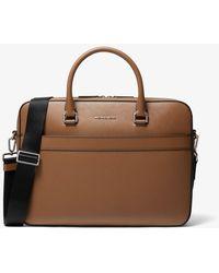 Michael Kors Harrison Saffiano Leather Front-zip Briefcase - Brown