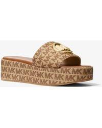 Michael Kors Sadler Logo Jacquard Wedge Sandal - Brown