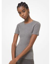 Michael Kors Cashmere Short-sleeve Sweater - Grey