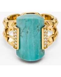 Michael Kors 14k Gold-plated Sterling Silver Turquoise Cocktail Ring - Metallic