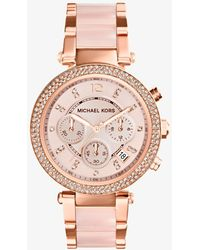 Michael Kors Parker Pave Rose Goldtone Stainless Steel Chronograph Bracelet Watch - Pink