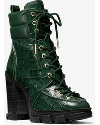 Michael Kors Ridley Crocodile Embossed Leather Lace-up Boot - Green