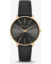 Michael Kors - Pyper Gold Tone And Black Leather Watch - Lyst