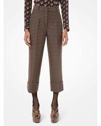 Michael Kors Deco Herringbone Wool Cuffed Pants - Brown