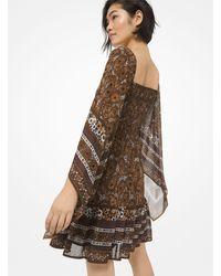 Michael Kors Paisley Georgette Smocked Scarf-sleeve Dress - Brown