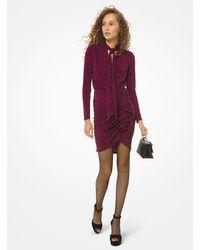 Michael Kors Leopard Matte-jersey Tie-neck Dress - Purple