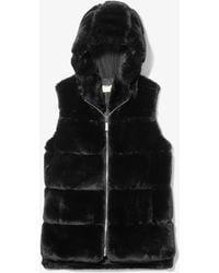 Michael Kors Faux Fur Hooded Vest - Black
