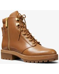 Michael Kors Rosario Leather Combat Boot - Brown