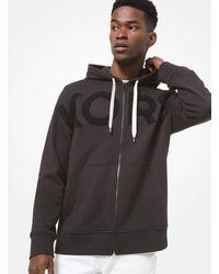 Michael Kors Felpa in cotone con cappuccio zip e scritta KORS - Nero