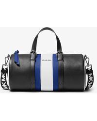 Michael Kors Stanton Large Striped Pebbled Leather Barrel Bag - Blue