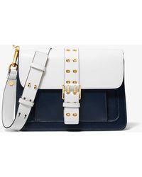 Michael Kors Simone Two-Tone Leather Belted Shoulder Bag - Bleu