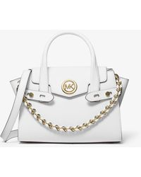 Michael Kors Mk Carmen Extra-small Saffiano Leather Belted Satchel - White