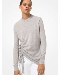 Michael Kors Cashmere Ruched Sweater - Grey