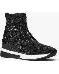 Michael Kors Skyler Crystal Embellished Stretch Knit Sock Sneaker - Black