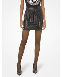 MICHAEL Michael Kors Faux Leather Ruched Skirt - Black