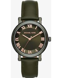 Michael Kors - Norie Olive-tone And Leather Watch - Lyst