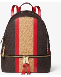 3378d4862965 Michael Kors - Rhea Medium Striped Logo And Leather Backpack - Lyst
