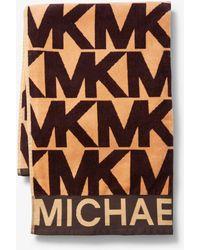 MICHAEL Michael Kors Telo Da Mare In Cotone Con Logo - Marrone