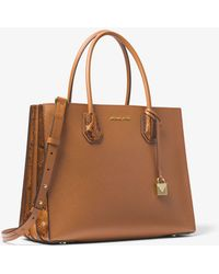 Michael Kors - Mercer Large Pebbled And Embossed Leather Accordion Tote - Lyst
