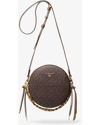 Michael Kors Delancey Medium Two-tone Logo And Leather Canteen Crossbody Bag - Brown