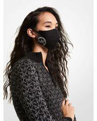 Michael Kors Mk Studded Logo Stretch Cotton Face Mask - Black
