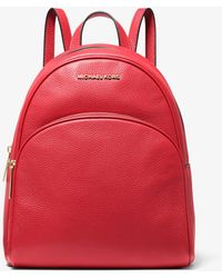 Michael Kors Abbey Medium Pebbled Leather Backpack - Red