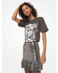 Michael Kors Mirror Dot Jersey Tiered Ruffle Skirt - Metallic