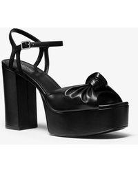 Michael Kors Suri Knotted Leather Platform Sandal - Negro