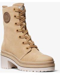 Michael Kors Corey Suede Combat Boot - Natural