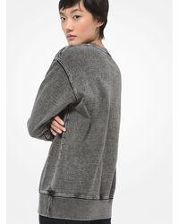 Michael Kors Star-embellished Logo Acid Wash Cotton Terry Sweatshirt - Black