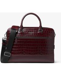 Michael Kors - Harrison Crocodile-embossed Leather Briefcase - Lyst