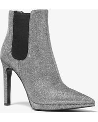 Michael Kors Brielle Glitter Chain-mesh Ankle Boot - Gray