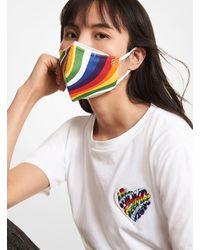 Michael Kors Wavy Rainbow Stretch Cotton Face Mask - White