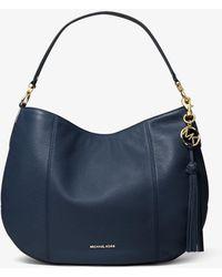 Michael Kors Brooke Large Pebbled Leather Shoulder Bag - Bleu