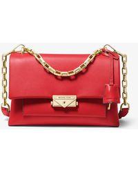 Michael Kors Cece Medium Leather Shoulder Bag - Red