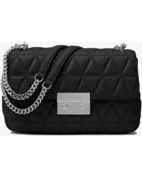 Michael Kors Sloan Large Quilted-leather Shoulder Bag - Black