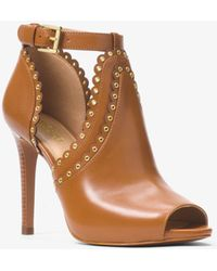 Michael Kors - Jessie Leather Open-toe Bootie - Lyst