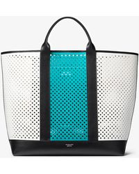 Michael Kors - Georgica Oversized Color-block Perforated Leather Tote Bag - Lyst